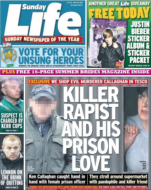 Sunday Life front page from April 24 2011
