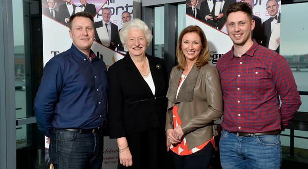 Winning team: Richard Larmour and Jamie Ireland from Young Player of the Year sponsors Decathlon Belfast are joined by Dame Mary Peters and Claire McCollum