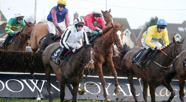 Safely over: Presenting Beara (right), ridden by Roger Loughran, and Bright Tomorrow (3), with Mark Bolger on board, clear a fence in the third race at Down Royal yesterday, won by Rachael Blackmore on Honest Robber