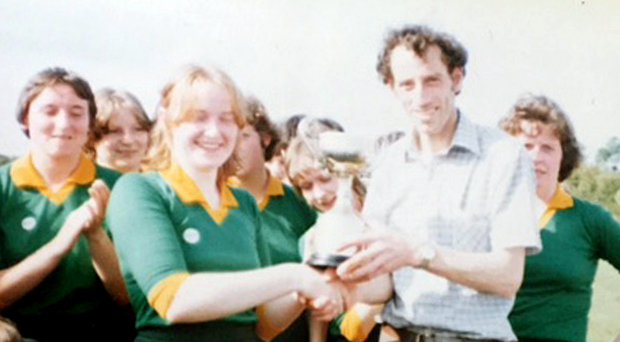 Matthew's captain Bernie Bogue, an aunt of the writer, being presented with The O'Connor Cup