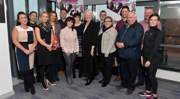 Supporting role: Judges and sponsors of the Belfast Telegraph Sports Awards came together to discuss final details of Monday's ceremony at the Waterfront Hall. Pictured, from left, are Paula Quinn (Celerion), Telegraph Editor Gail Walker, Helen Galbraith (Celerion), awards compere Claire McCollum, Richard Larmour (Decathlon), Maura Daly and Breeda Toner (Active Financial Life), Dame Mary Peters, George Graham (Crowne Plaza), Caroline McComb (McComb Coach Travel), Jamie Ireland (Decathlon), Rodney McComb, Sports Editor Jim Gracey and Judith McGirr (Gym Co)