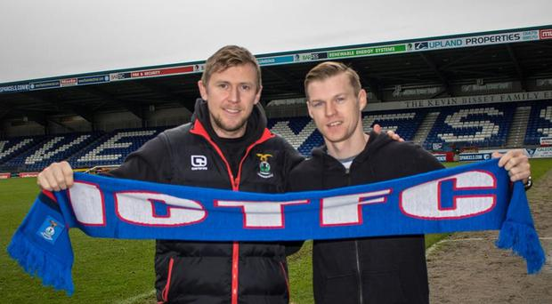 Goal ace: Northern Ireland striker Billy McKay (right) with boss Richie Foran after returning to Inverness on loan from Wigan