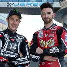 Close call: Jonathan Rea (left) and Glenn Irwin almost came