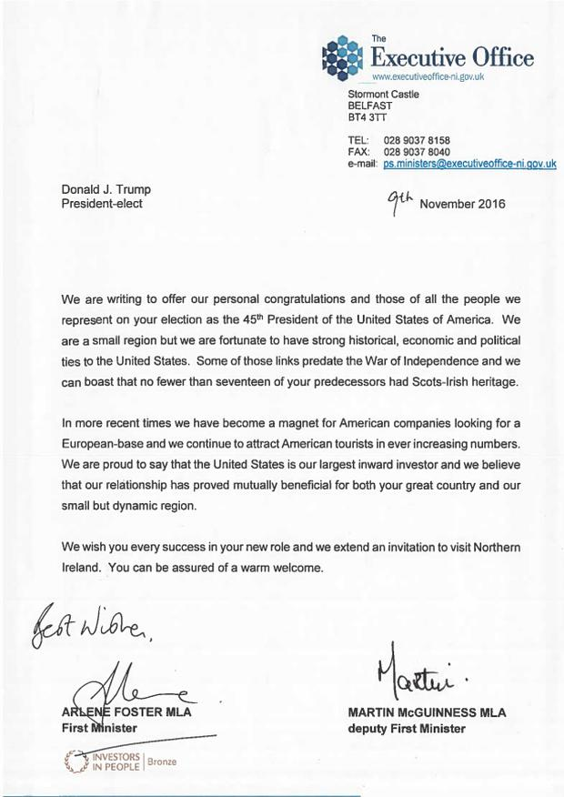 The letter sent to Mr Trump following his election victory.