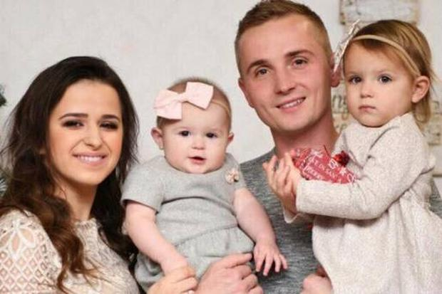 Vadim with his wife Nataliya and two daughters, Vanessa (2) and Maya (11 months) Photo: GoFundMe