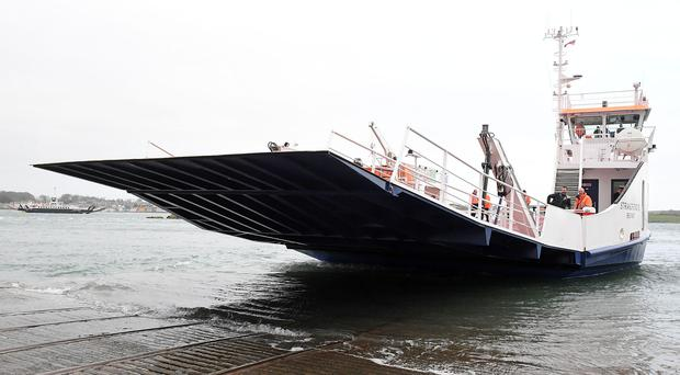 The new £6.2m Strangford ferry on its first official journey to Portaferry yesterday