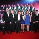 Winners: Representatives from the Commonwealth games Youth team, Conor Ferguson, Danielle Hill, Ben Fisher and James McGivern collect last year's Young Team of the Year award from Tommy Bowe and Muriel O'Grady of Subway