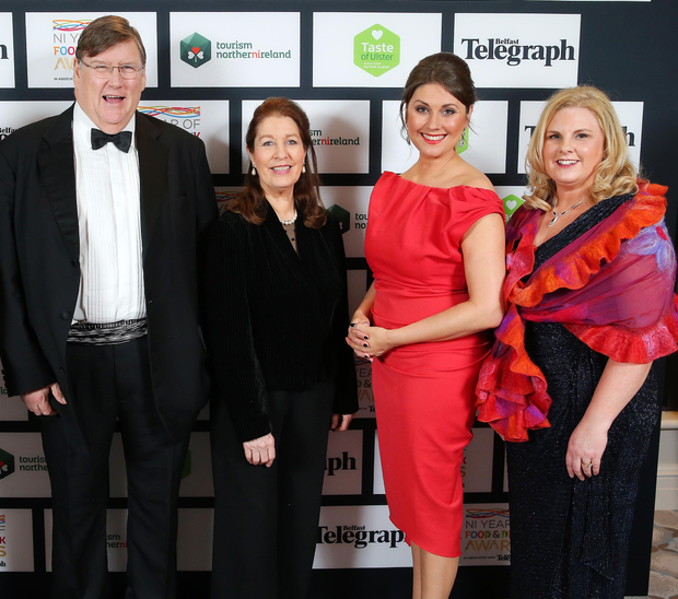 Judges Charles Campion and Georgina Campbell, host Sarah Travers and Sharon Machala at the NI Year of Food and Drink Awards at the Culloden Hotel last night