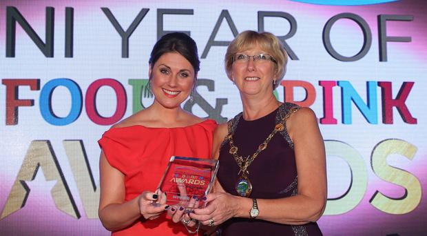 NI Year of Food & Drink Awards at the Culloden Hotel. Pictured: Sarah Travers with Ald. Hilary McClintock, Mayor Derry City and Strabane District Council. Photo by Kelvin Boyes / Press Eye.