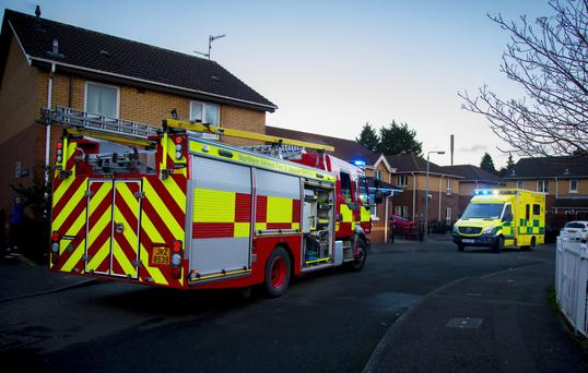 Police, Paramedics and Firefighters at the blaze in Ardnaclowney House , West Belfast on 5th February 2017 (Photo - Kevin Scott / Belfast Telegraph)