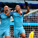Double top: Gabriel Jesus celebrates with Pablo Zabaleta