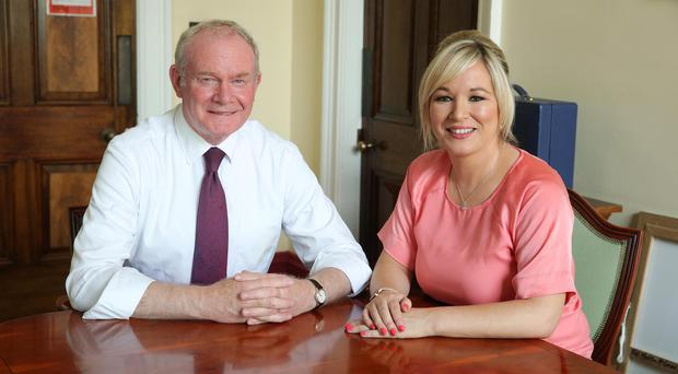 Martin McGuinness with his Sinn Fein protege Michelle O'Neill