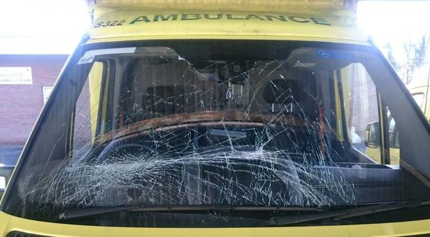 An ambulance is attacked in Lurgan on Friday night (Picture: NIAS)