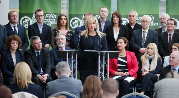 Michelle O'Neill addresses party members at Sinn Fein Assembly election launch. Picture by Jonathan Porter/PressEye.com