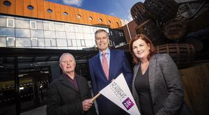 Leading hotelier Bill Wolsey with Des Moore, Head of First Trust Bank and Diane Roberts from Xcell Partners launching the AIB Start-up Academy Summit in Belfast