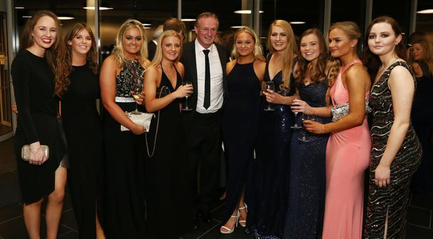 Northern Ireland manager Michael O'Neill and pupils from Methodist College, Belfast at the Waterfront Hall last night