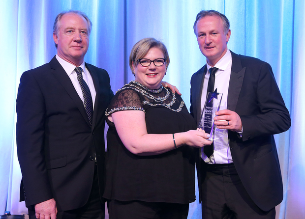 Top team: Northern Ireland manager Michael O'Neill (right) and his No.2 Jimmy Nicholl collect the Team of the Year award from Caroline McComb, Director of McCombs Coach Travel after the men in green's wonderful achievements during the Euro 2016 finals in France last summer
