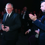 Main man: Dennis Taylor receives the applause after being inducted into our Hall of Fame