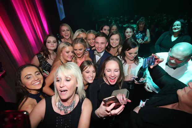 Belfast Telegraph Sports Awards 2016. Carl Frampton signs autographs and poses for selfies. Photo by Kelvin Boyes / Press Eye.