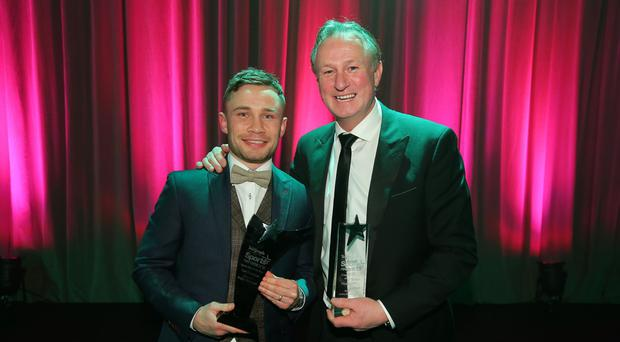 Belfast Telegraph Sports Awards. Carl Frampton and Michael O'Neill. Photo: Kelvin Boyes/Press Eye