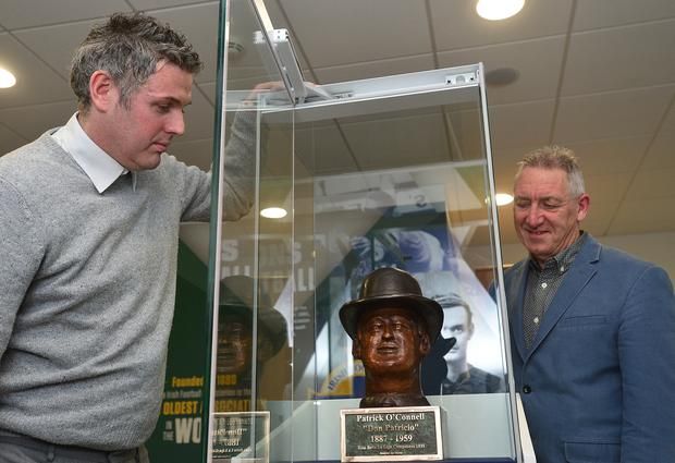 Irish Footballer Patrick O'Connell bust was unveiled at Windsor Park in Belfast, Northern Ireland. Pictured at the unveiling Fergus Dowd and Alan McLean. Picture By: Arthur Allison/Pacemaker Press
