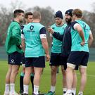 Wise words: Andy Farrell lays down his case for defence on the training ground at Carton House