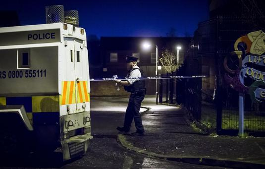 Police officers at the scene of a security alert in the Manor Close area of North Belfast where they have now located a suspicious object on 7th February 2017 (Photo - Kevin Scott / Belfast Telegraph)