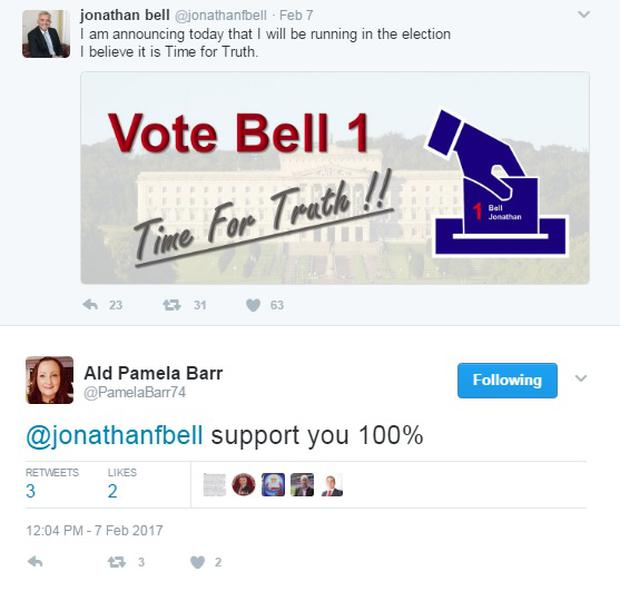 DUP's Pamela Barr tweet backing Mr Bell