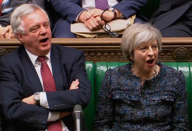 British Prime Minister Theresa May (R) and British Secretary of State for Exiting the European Union (Brexit Minister) David Davis (L) shout 'aye' in the House of Commons in favour of a the bill. AFP/Getty Images