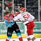 Belfast Giants' Adam Keefe with Cardiff Devils' Patrick Bordeleau during Wednesday nights Challenge Cup Semi-Final 2nd leg at the SSE Arena, Belfast. Photo by William Cherry/Presseye