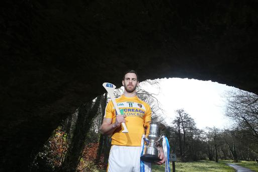 Bridge builder: Antrim's Neil McManus at Shaws Bridge, Belfast yesterday at the launch of the Allianz Leagues