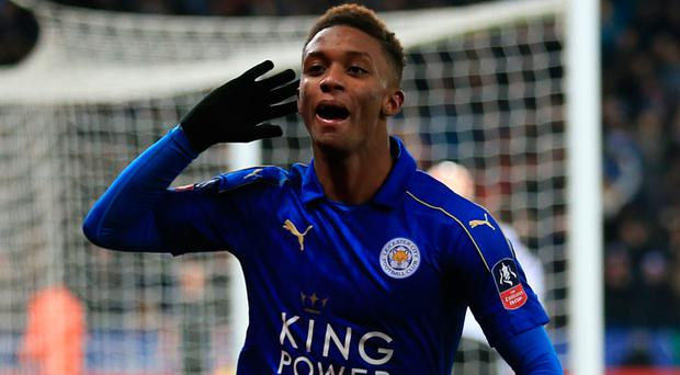 Listen up: Demarai Gray celebrates after putting the icing on the cake for the Foxes in extra-time