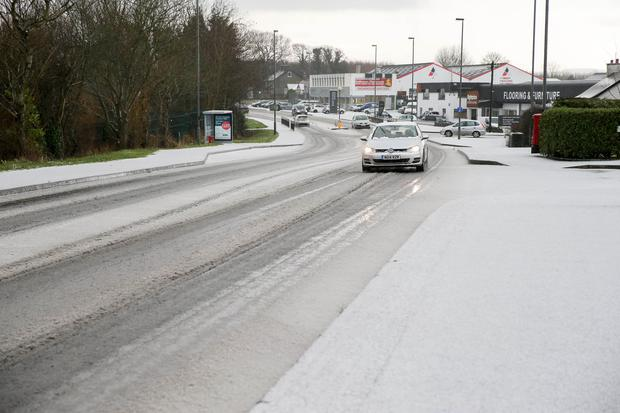 A snow-covered road in Coleraine on Tuesday.