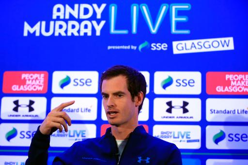 Big match: Andy Murray in London yesterday to announce his showdown in Glasgow with Roger Federer