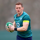 On the ball: Craig Gilroy in action during Ireland's training session at Carton House yesterday