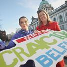 In the running: Looking forward to the SPAR Craic 10k, which starts at Belfast City Hall, is Teresa Duffy from Beechmount Harriers who was the female winner last year and Bronagh Luke, Head of Corporate Marketing at the Henderson Group