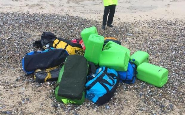 Holdalls full of cocaine were found on Hopton Beach near Great Yarmouth. Image: NCA