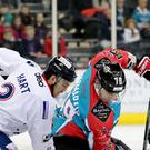 Belfast Giants' James Desmarais with Dundee Stars' Kevin Hart during Friday nights Elite Ice Hockey League game at the SSE Arena, Belfast. Press Eye - Belfast