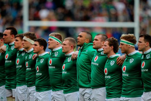 ROME, ITALY - FEBRUARY 11: Ireland players sing their national anthem before the RBS Six Nations match between Italy and Ireland at Stadio Olimpico on February 11, 2017 in Rome, Italy. (Photo by Paolo Bruno/Getty Images)