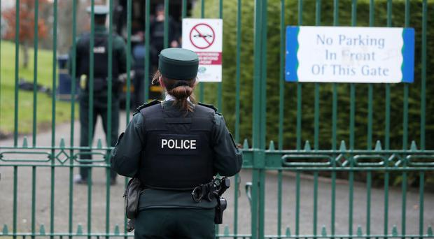 Police at the scene in Lord Lurgan Park, Lurgan, during an ongoing security alert. Picture by Jonathan Porter/PressEye.com
