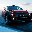 Slipping and sliding: Kris Meeke and his co-driver Paul Nagle endured frustration on an icy Rally Sweden