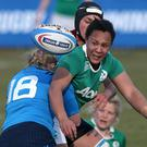 On target: Sophie Spence dotted down for the Irish women