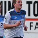 On target: Ards' Ross Arthurs celebrates his goal