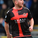 Get in: Crusaders ace David Cushley celebrates his goal against Ballymena United