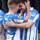 Coleraine's James McLaughlin celebrates scoring against Dungannon