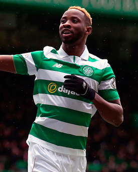 Oh Bhoy: Celtic's Moussa Dembele celebrates after scoring a hat-trick for his side in the 6-0 win over Inverness