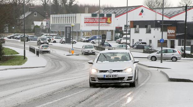 A snow-covered road in Coleraine last Tuesday