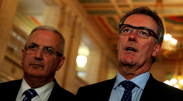 Ulster Unionist Party leader Mike Nesbitt and Danny Kennedy have clashed over voting preferences for the Assembly election. Brian Lawless/PA Wire.