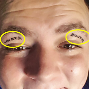Dad-of-one Steven Laverty (24) from Belfast is worried a Benidorm stag do stunt he took too far may have scuppered his chances of finding love - as he got a daft tattoo on his eyelids. PIC FROM MERCURY PRESS