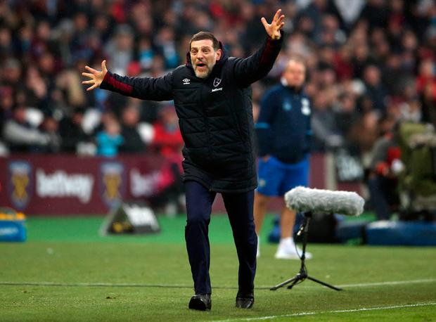 West Ham United manager Slaven Bilic during the Premier League match at London Stadium. PA